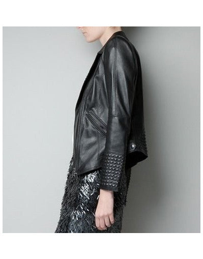 Black Rivets Leather Jacket - Awesome World - Online Store  - 3