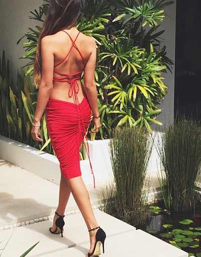 Strappy Backless Dress - Awesome World - Online Store  - 1
