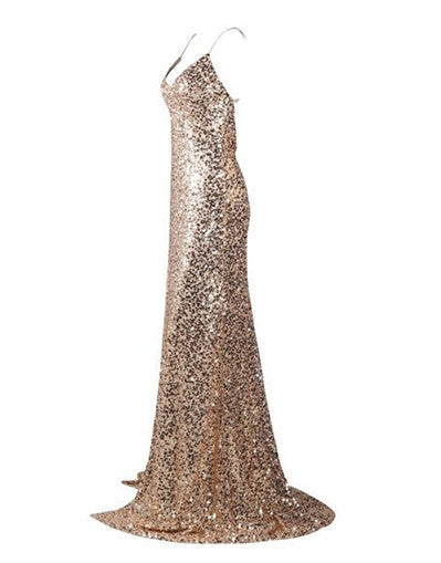 Backless Sequinned Gold Gown - Awesome World - Online Store  - 3