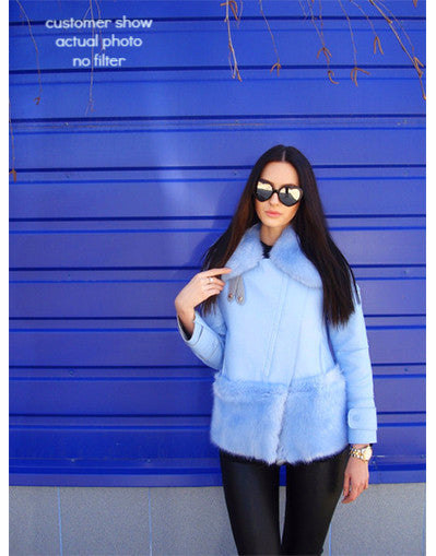 Aqua Blue Fur Jacket - Awesome World - Online Store  - 2