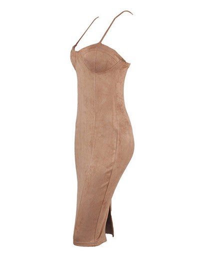 Camel Suede Style Dress - Awesome World - Online Store  - 4