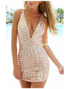 Geometric V-Neck Dress - 2 Colors - Awesome World - Online Store  - 1