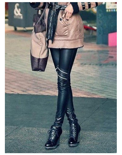 Zipper Leather Leggings - Awesome World - Online Store  - 1