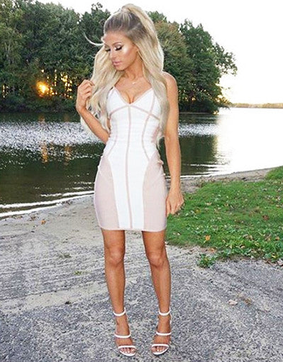 Nude V Neck Dress - Awesome World - Online Store  - 1