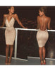 Nude V Neck Dress - Awesome World - Online Store