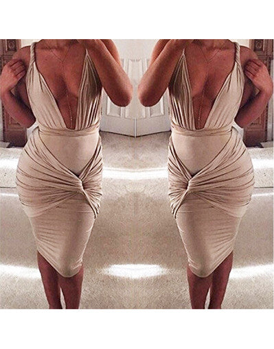 V-neck Khaki Bodycon & Backless Dress - Awesome World - Online Store  - 1