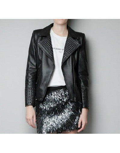 Black Rivets Leather Jacket - Awesome World - Online Store  - 2