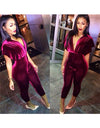 Burgundy Velvet Deep V Jumpsuit - Awesome World - Online Store  - 1