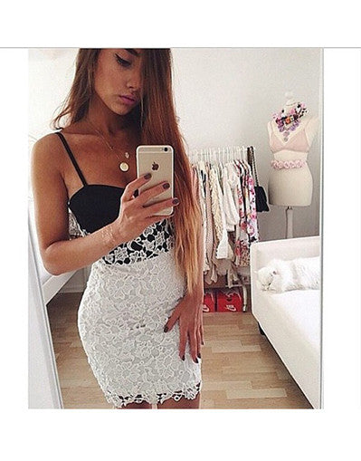 Black&White Lace Bottom Dress - Awesome World - Online Store  - 1