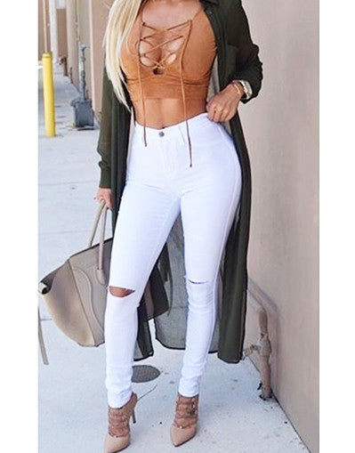 White/Black Ripped Knee Pants - Awesome World - Online Store  - 3