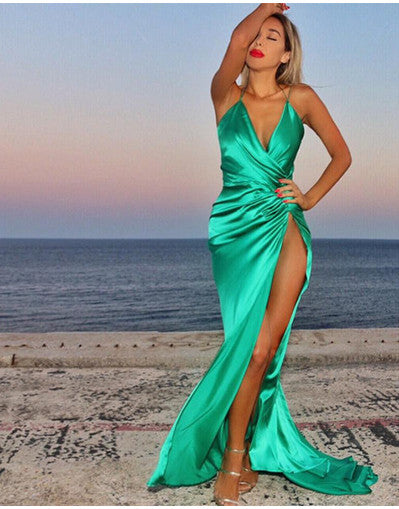 Jade Slinky Style Slit Dress - Awesome World - Online Store  - 3