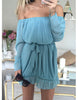 Blue Open Collar Casual Dress - Awesome World - Online Store