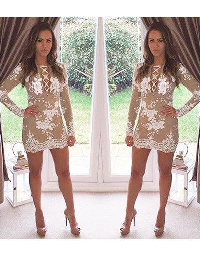 Glam Edition - Lace Up Neck w White Sequins Dress - Awesome World - Online Store  - 1