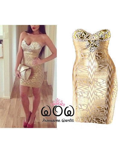 Luxury Gold Dress - Awesome World - Online Store  - 2