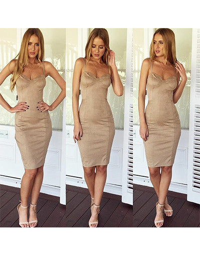 Camel Suede Style Dress - Awesome World - Online Store  - 2