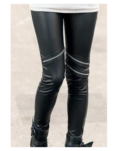 Zipper Leather Leggings - Awesome World - Online Store  - 2
