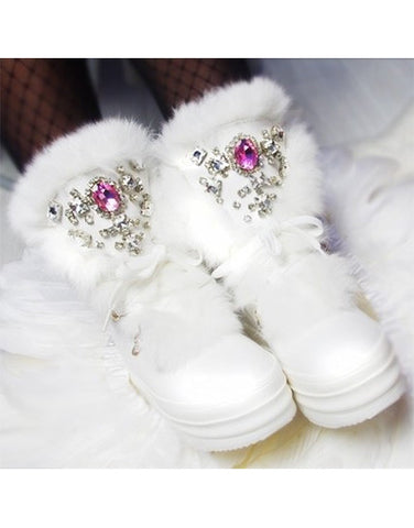 Plataform Snow Boots with Rhinestones