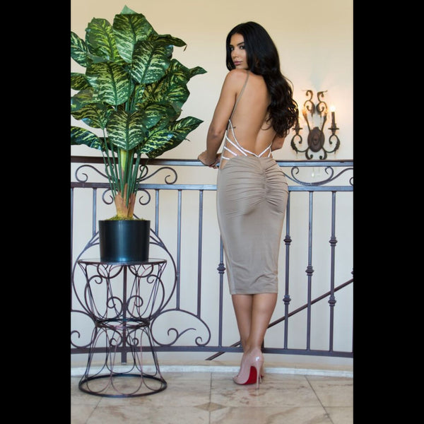 Bodycon Midi Backless Dress - Red or Nude-Silver - Awesome World - Online Store  - 5