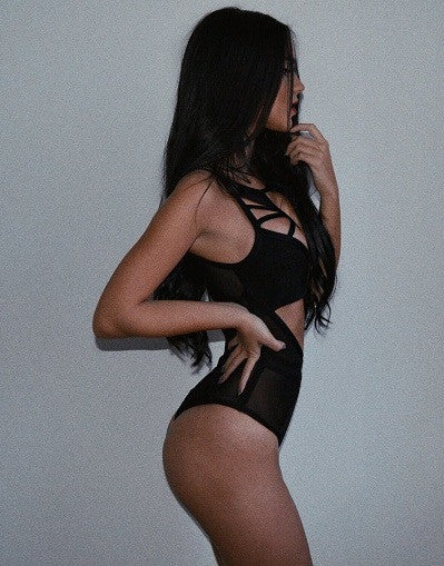 2 in 1: Black Bandage Bodysuit and Swimsuit - Awesome World - Online Store  - 3