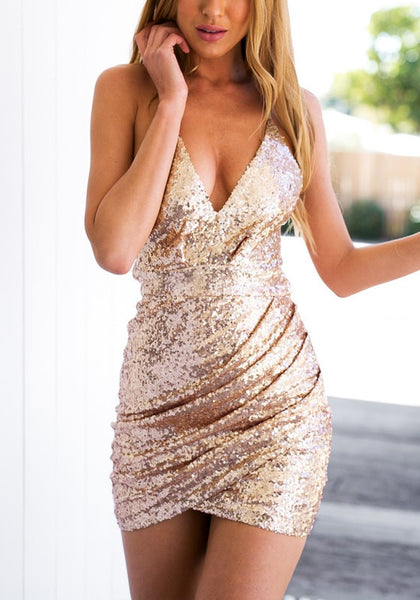 Wrap Glitter Dress w/ Strappy Back - Gold or Black - Awesome World - Online Store  - 3