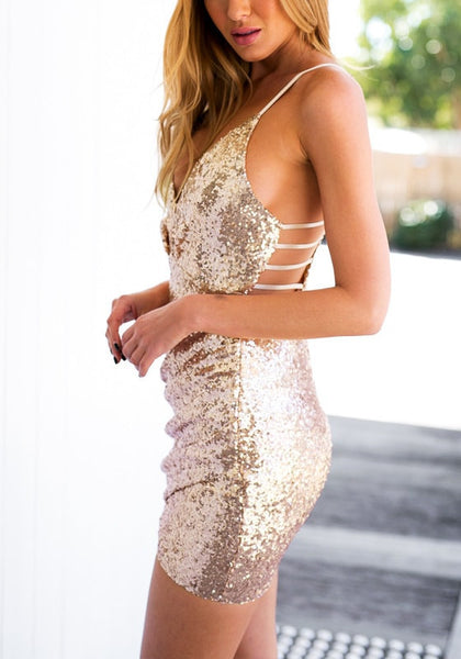 Wrap Glitter Dress w/ Strappy Back - Gold or Black - Awesome World - Online Store  - 4
