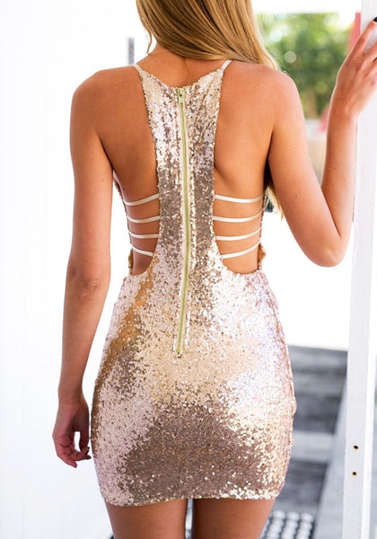 Wrap Glitter Dress w/ Strappy Back - Gold or Black - Awesome World - Online Store  - 6