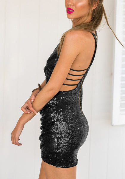Wrap Glitter Dress w/ Strappy Back - Gold or Black - Awesome World - Online Store  - 5