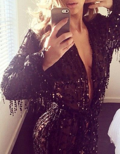 Fringed Sequins Glam Black Romper - Awesome World - Online Store  - 2