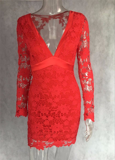 Lace Embroidery Set - Pink & Red