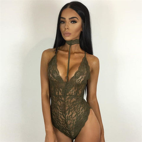 Lace Choker Bodysuit - 4 Colors