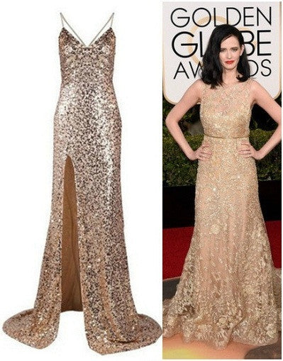 Backless Sequinned Gold Gown - Awesome World - Online Store  - 2