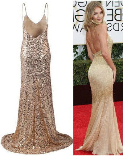 Backless Sequinned Gold Gown - Awesome World - Online Store  - 1