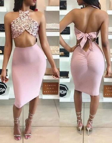 Two Pieces Set Sequins, Satin & Bodycon