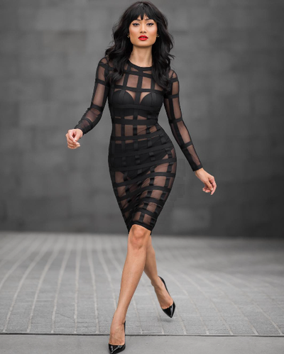 Mesh Striped Dress - Nude or Black - Awesome World - Online Store  - 3