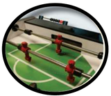 Foosball table goalie area