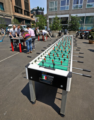 A very long Garlando outdoor foosball table custom-made in Italy.