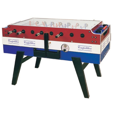 Three Colored Red, White & Blue Foosball Table By Garlando called Coperto Which is (Coin-Op) is available at Foosball Planet.