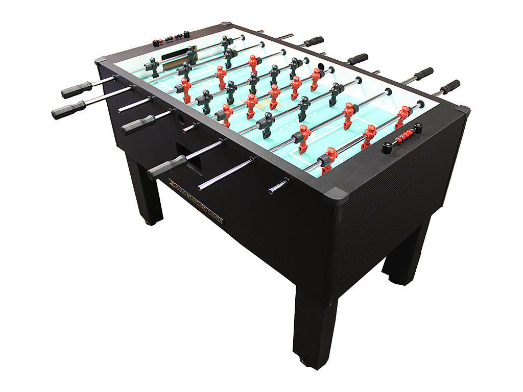 Shelti Home Pro Foosball Table in Carbon Fiber with Stainless Rods and Black Handles