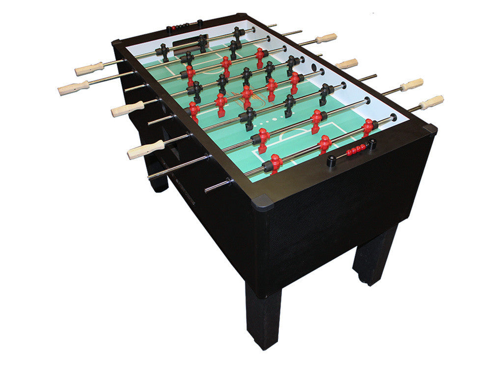 Picture of Shelti Home Pro Foosball Table in Carbon Fiber with Stainless Rods and Wood Handles