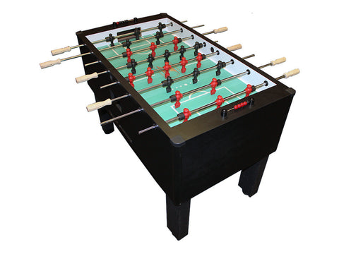 Shelti Home Pro Foosball Table in Carbon Fiber with Chrome Rods and Wood Handles