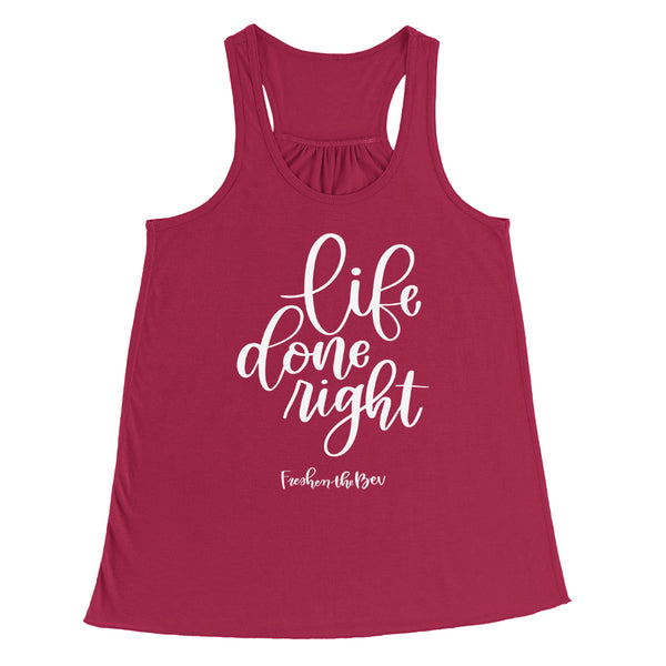 Women's Life Done Right Flowy Racerback Berry Tank Top