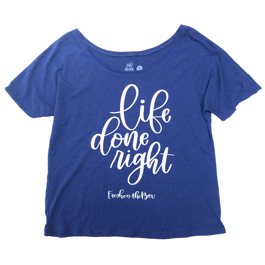 Women's Life Done Right Triblend Slouchy Tee - Navy & White