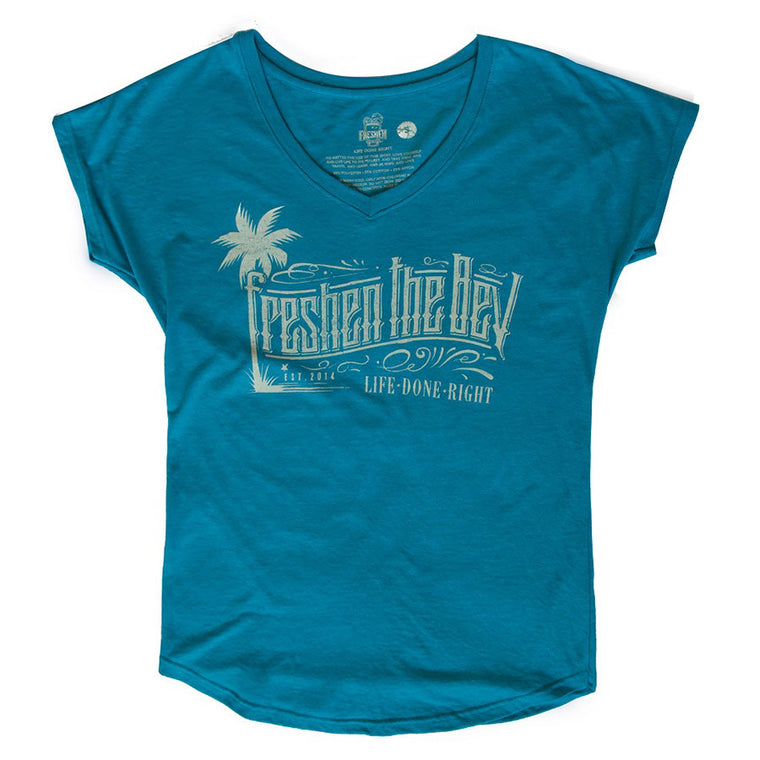 Women's Palm Tree V-Neck Tee