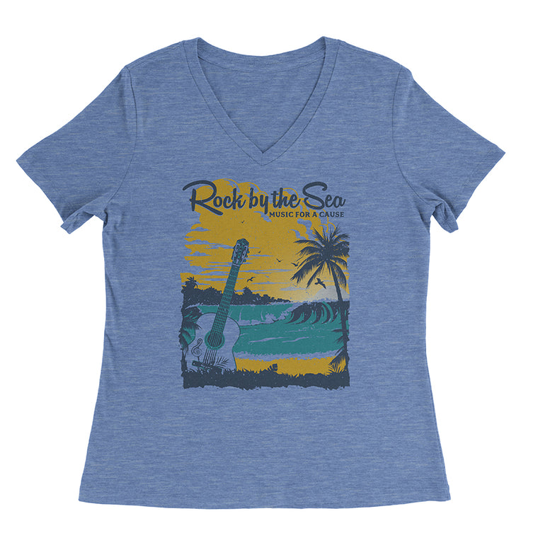 Rock by the Sea '18 Women's Relaxed Fit V-Neck Tee - Blue Triblend