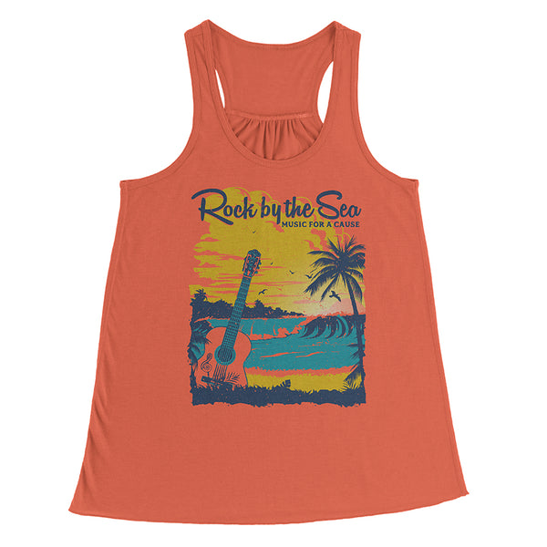 Rock by the Sea '18 Flowy Racerback Tank Top - Coral