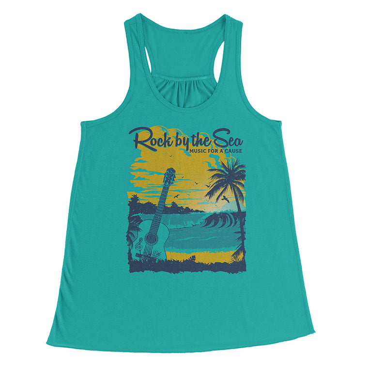 Rock by the Sea '18 Flowy Racerback Tank Top - Teal