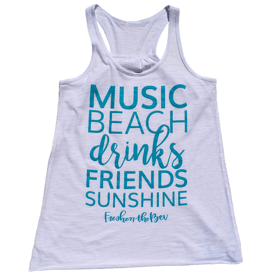 The Summer Shirt Flowy Racerback Tank Top - White