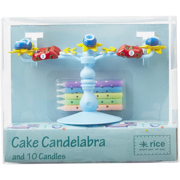 Candelabra Cake Decoration with 10 Candles in Assorted Colors