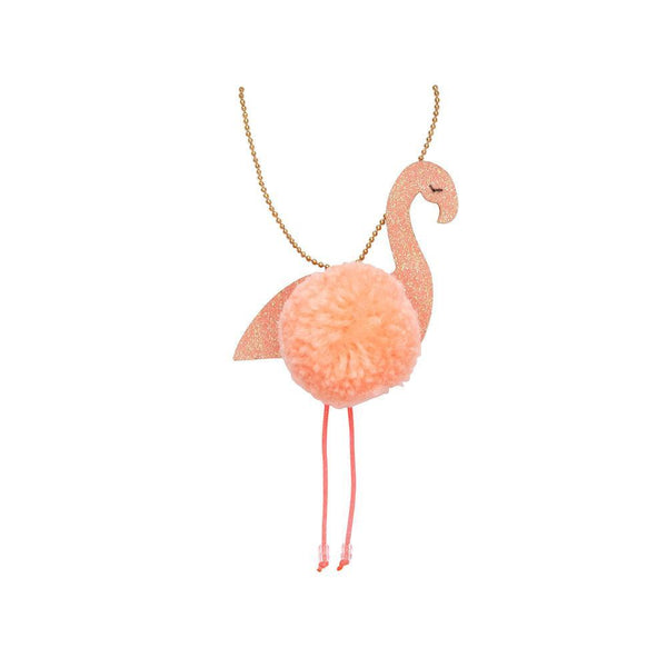 Flamingo Pom Pom Necklace