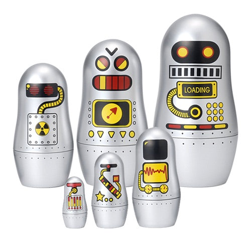 Silver Stacking Robot Dolls